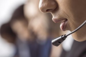 close-up person phone headset
