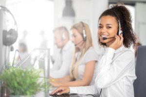 woman smiling headset phone